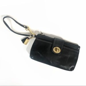 Coach black leather wristlet brass twist lock